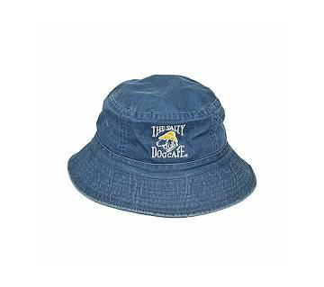 Blue and White Denim Hat for Men