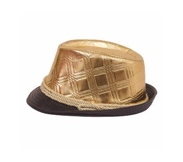 Golden And Black Artificial Leather Party Hat For Men