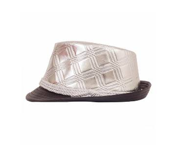 Silver And Black Artificial Leather Party Hat For Men