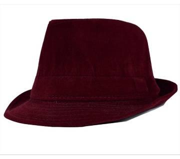Maroon Cotton Velvet China Hat For Men