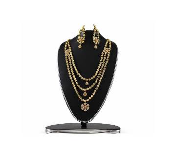American Diamond Cut Necklace and Earrings Set For Ladies
