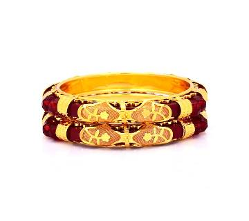 Indian Golden And Red Bangles For Women (2 pcs)