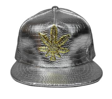 Weed Logo লেদার Dj ক্যাপ ফর মেন - সিলভার