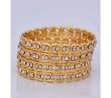 Indian Stone Setting Golden Bangles For Ladies (4 pcs)