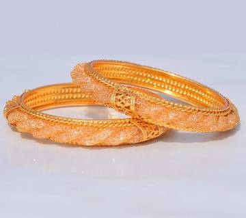 Indian Gold Plated Diamond Cut Metal Bangles For Women - 2Pc
