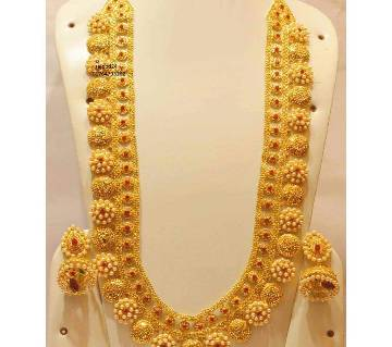 Indian Metal Golden Necklace and Earrings