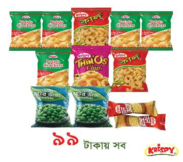 2 packets Krispy Curl+ 1 Packet Thinos+ 5 Packets Potato Crackers+ 2 Packets Fried Peas+ 2 Packets Mung Dal