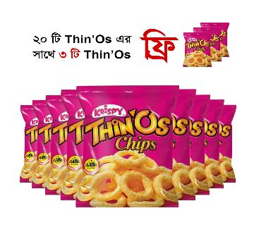 Krispy Thinos Chips 20 gm (20 Packets +3 Packet FREE). (BD)