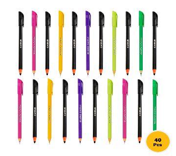 Econo Castle Black & Multi Color Body Pen Combo Offer (40 pcs)