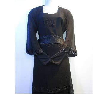 Ladies Lace Four Piping Black Borka
