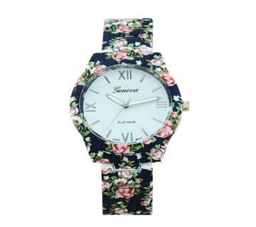 Ceramics Flower Designed Ladies Watch-Navy Blue
