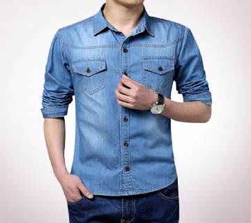 Sky Blue Denim Gents Full Sleeve Casual Shirt
