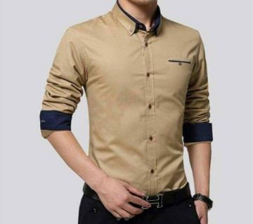 Brown Long Sleeve Casual Shirt for Men