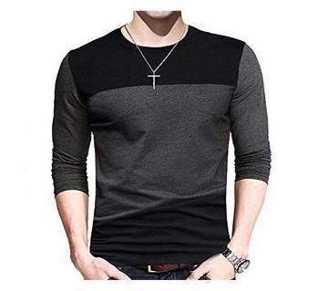 Black & Ash Cotton Full Sleeve Casual T-shirt For Men