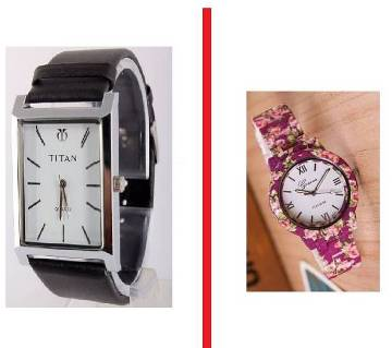 TITAN gents copy with and floral printed ladies watch