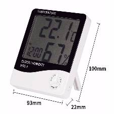 Digital Room Temperature Meter with Clock HTC-1 - White