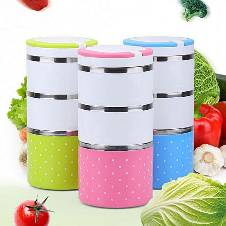 3 Layer Lunch Box - Green 1 Piece