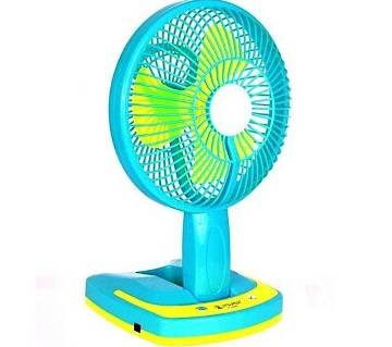 F - Secure Rechargeable Angle Adjustment Portable Mini Fan - Blue and Yellow