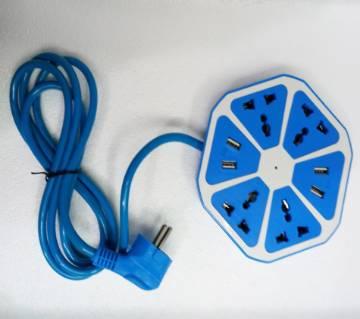 4 USB পোর্টস এন্ড 4 সকেট মাল্টিপ্লাগ - ব্লু