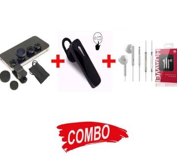 Huawei AM116 Earphone + Bluetooth Headset +Universal Lence For Mobie Combo Offer