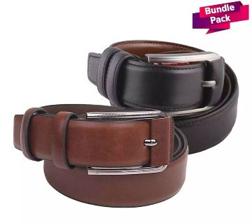 Mens Black Leather Belt and Brown Leather Belt Combo offer
