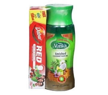 Dabur Vatika Enriched Coconut Hair Oil (Free Dabur Red Toothpaste 50 gm) 150 ml-India
