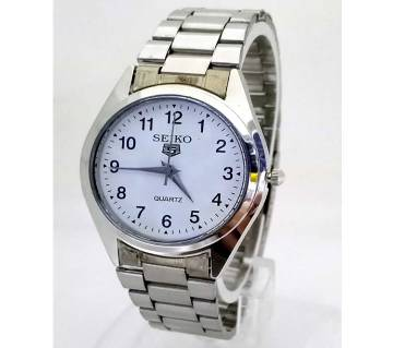 SEIKO Silver Dial Stainless Steel Watch For Boys-White-Copy