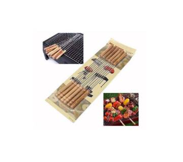 BBQ Stick -12Pcs - Wooden And Silver
