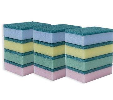COLORFUL SPONGE SCOURING PAD 12 PCS PACK|