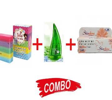 OMO White Plus 100g + Skinshine Cream + Aloe-Vera 99% Soothing Gel Combo Offer