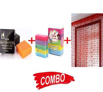 Red Heart Net Curtain + USA Beauty Care Whitening Soap + OMO White Plus Soap Combo Offer
