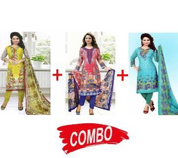 Unstitched Cotton Salwar Kameez (3 Pieces) Combo Offer