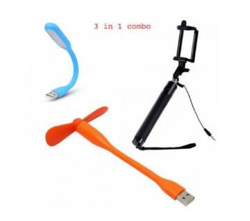 USB LED Light+ Selfie Stick+ Portable Mini USB Fan
