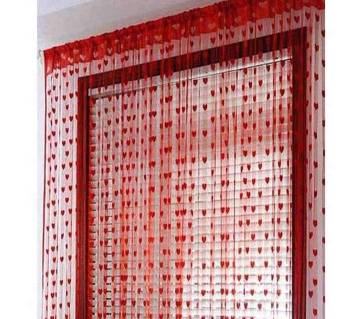 Handloomhub Red Heart Net Curtain