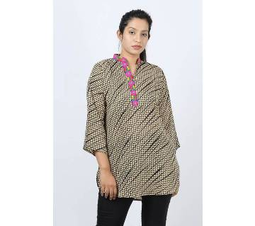 Plain Collar Skin Printed Linen Cotton Ladies Fotua