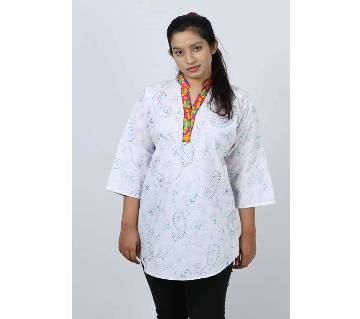 Designed Collar Pure Cotton Ladies Fotua