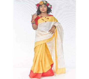 Boishakhi White and Yellow Katan Sharee