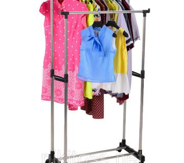 Double Pole Telescope Clothes Hanging Stand