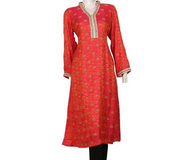 Stitched Katan Fabric Jori Work Embroidery Long Kurti