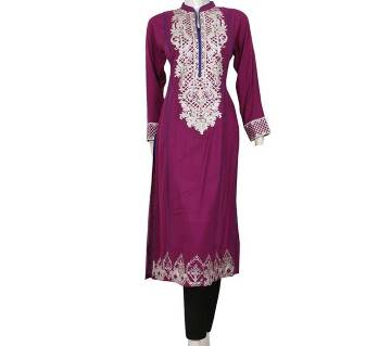 Pakistani Stitched Linen Embroidery Long Kurti