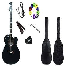 Combo Offer Signature Semi-Electric Acoustic Guitar - Black
