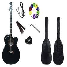 Combo Offer Signature Semi-Electric Acoustic  গিটার- Black