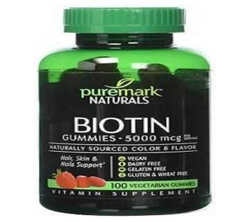 Puremark Naturals BIOTIN Gummies - 100 pc (5000 mcg) - USA