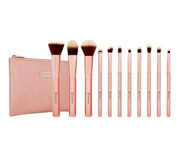 BH METAL ROSE - 11 PIECE BRUSH SET WITH COSMETIC BAG