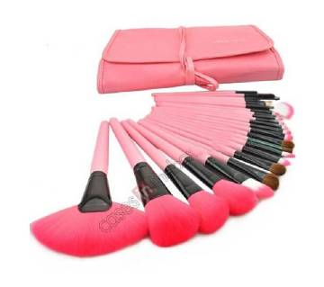 24 Pcs Professional Make Up Makeup Cosmetic Brush Set with Pink Leather Case - Pink