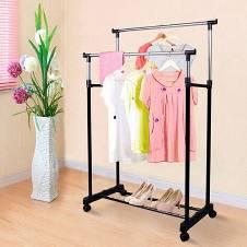 Folding Double Pole Clothes & Shoes Rack