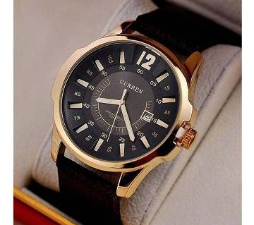 Curren Brand Leather Band Men Military Quartz Watch