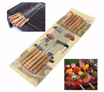 12 Pcs BBQ  - Wooden and Silver