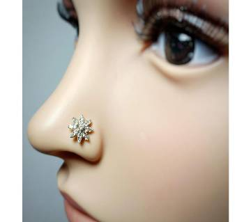 18k gold 17 diamonds flower nosepin