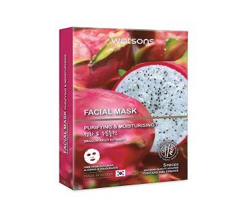 WATSONS Dragon Fruit Extract Facial Mask-5Pcs-Korea